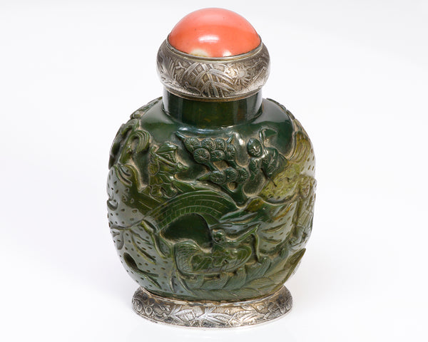 Antique Maison Maquet Jade Coral Silver Snuff Bottle Lighter