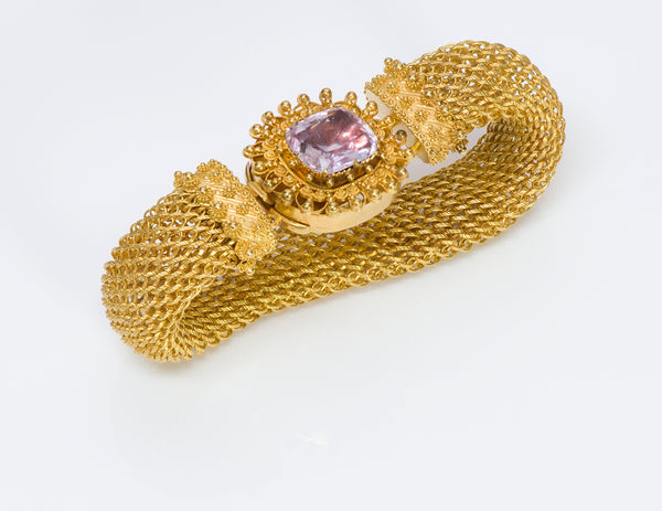 Antique 1840's Pink Topaz Gold Mesh Bracelet