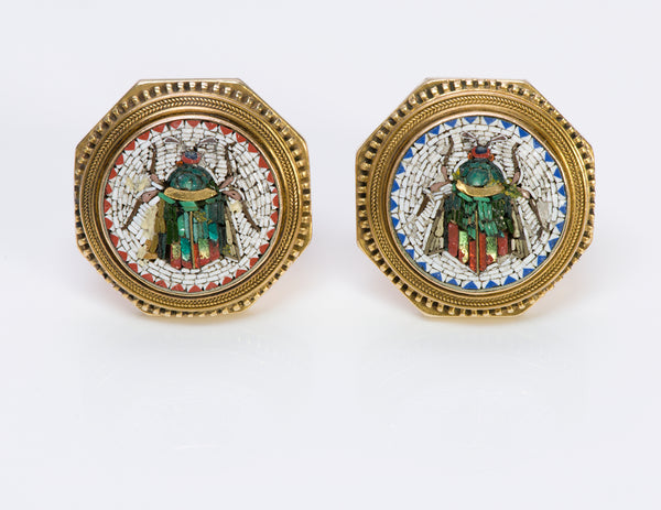 Antique Gold Micro-Mosaic Cufflinks Buttons