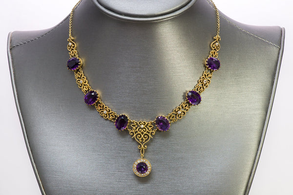Antique Y Gold Amethyst Diamond Necklace