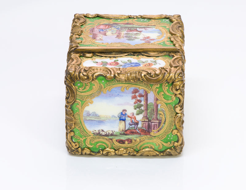Rococo Antique Bronze Porcelain Perfume Container box
