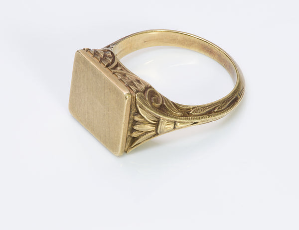 Antique Egyptian Revival Carved Gold Signet Ring