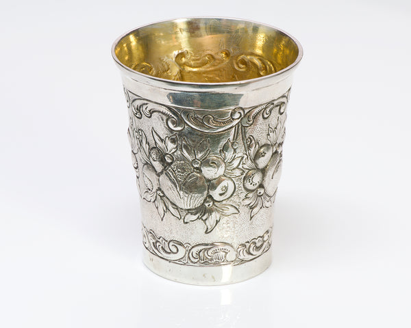 Antique Repousse Germany Silver Cup Beaker