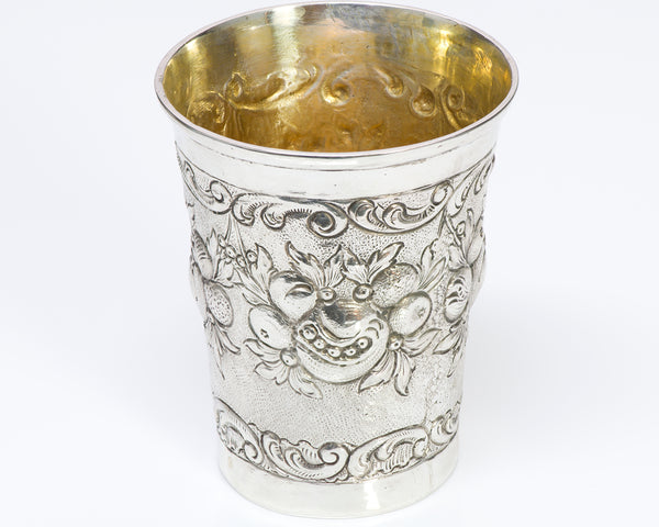 Antique Embossed Germany Silver Cup Beaker