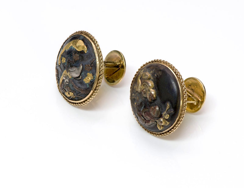Antique Shakudo Gold Cufflinks  1