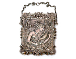 Antique Victorian Repousse Sterling Silver Card Case