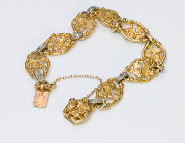 Antique French 18K Gold Diamond Bracelet