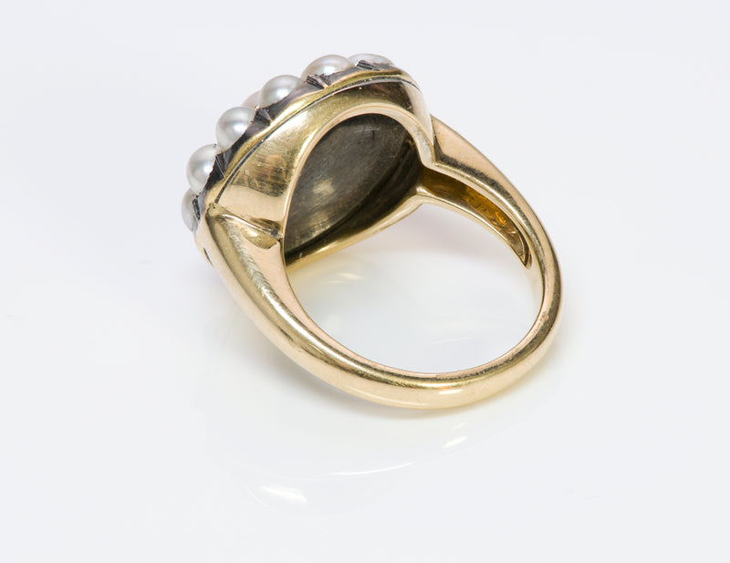 Antique 18K Gold Cluster Natural Pearl Ring