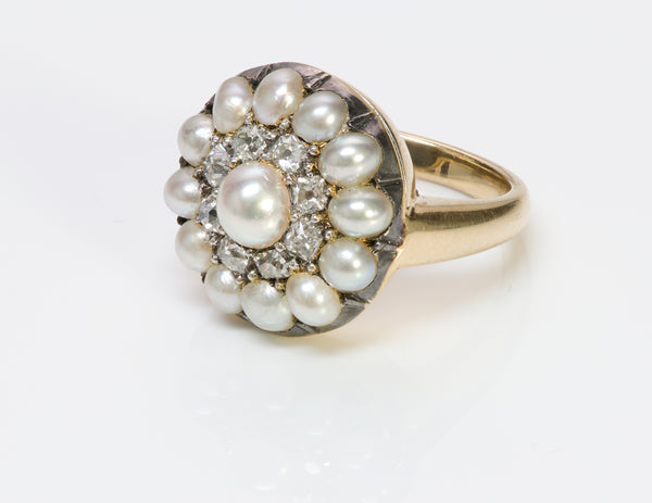 Antique 18K Gold Cluster Natural Pearl Diamond Ring 1