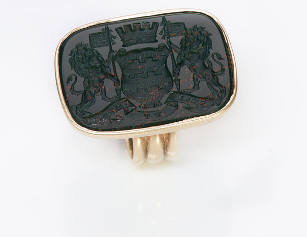 Gold Antique Bloodstone Crest Ring