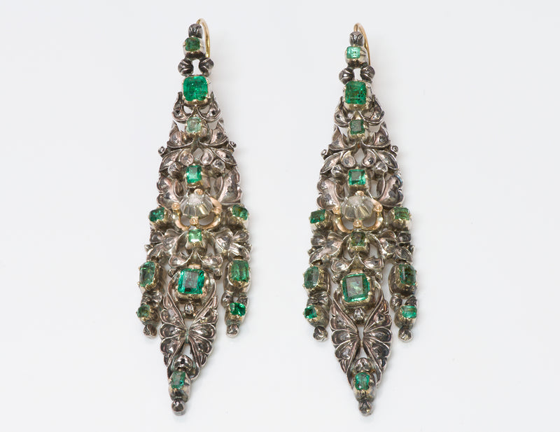 Antique Emerald Diamond Chandelier Earrings