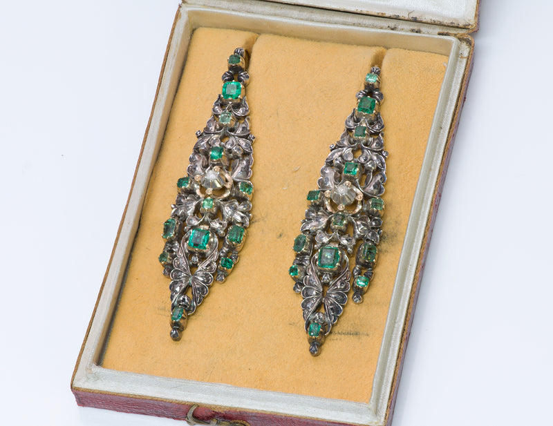 Antique Emerald Diamond Chandelier Earrings 1