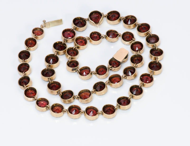 Antique Victorian Gold Garnet Necklace 2