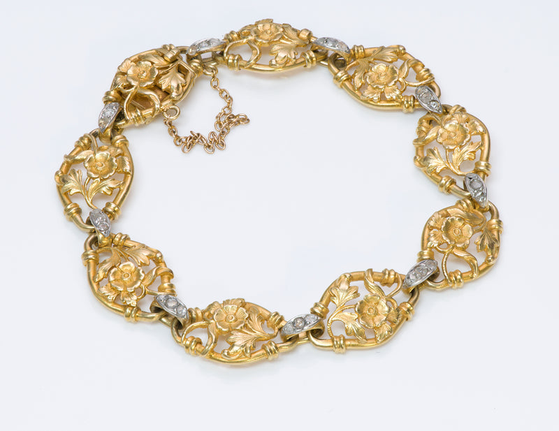 Antique 18K Yellow Gold Diamond Bracelet