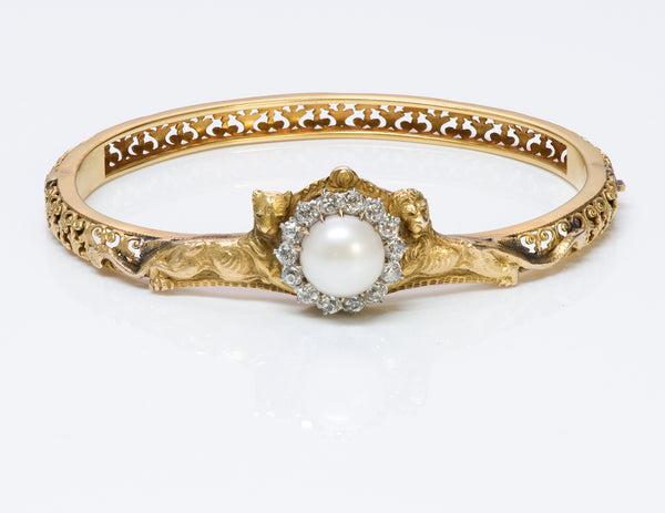 Antique Gold Lion Pearl Diamond Bangle Bracelet