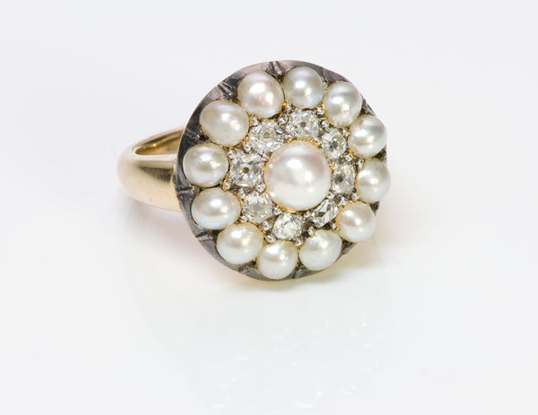 Antique 18K Gold Cluster Natural Pearl Diamond Ring