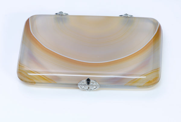 Art Deco Agate Platinum Diamond Box