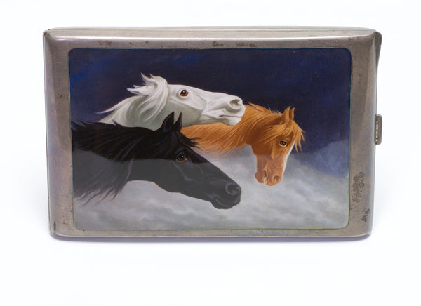 Antique Horse Silver Enamel Cigarette Case