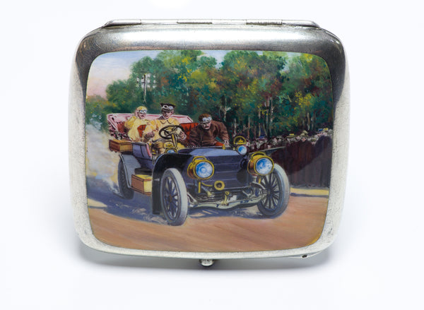 Antique Silver Enamel Sapphire Car Cigarette Case