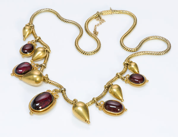 Victorian Antique Gold Cabochon Garnet Necklace