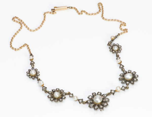 Antique Natural Pearl Gold & Diamond Necklace