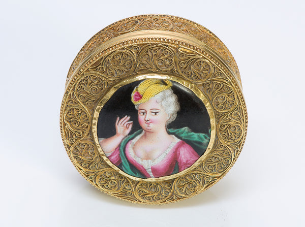 Antique Filigree Gold Box Painted Portrait Porcelain Miniature