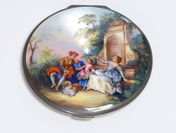 Antique Guilloche Enamel Silver Mirror Compact Kite Scene