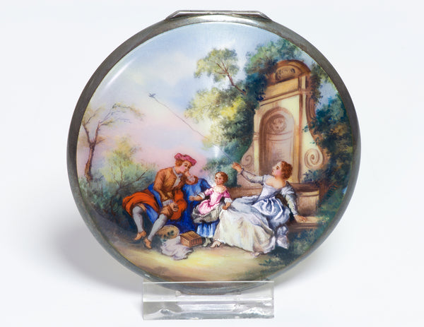 Antique Guilloche Enamel Compact Kite Scene