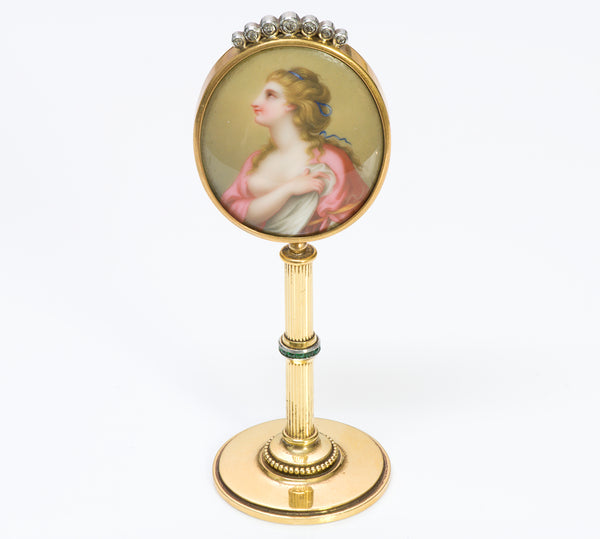 Antique Gold Portrait Porcelain Gem Standing