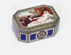 Antique Erotica Nude Enamel Silver Box