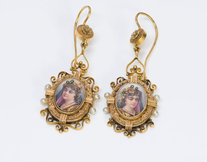 Earrings Antique Victorian Gold Pearl Diamond Portrait Enamel Earrings
