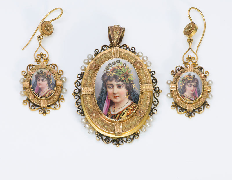 Antique Victorian Gold Earrings Pendant