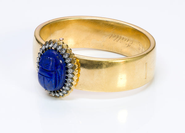 Antique Victorian Egyptian Revival Lapis Scarab Diamond Gold Bangle Bracelet