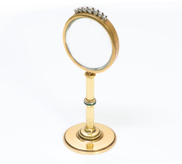 Antique Gold Gem Set Miniature Vanity Mirror