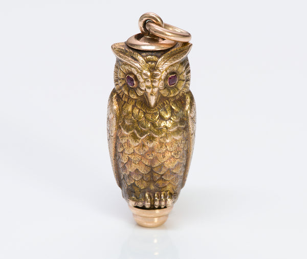 Antique Gold Ruby Owl Fob Pencil