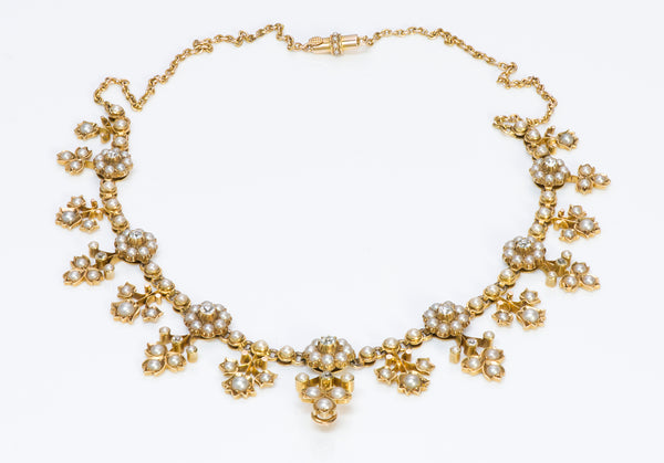 Antique Victorian Gold Diamond and Pearl Necklace