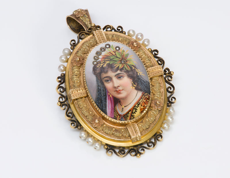 Antique Pendant Gold Pearl Diamond Portrait Enamel