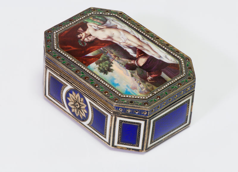 Antique Nude Erotica Portrait Enamel Box