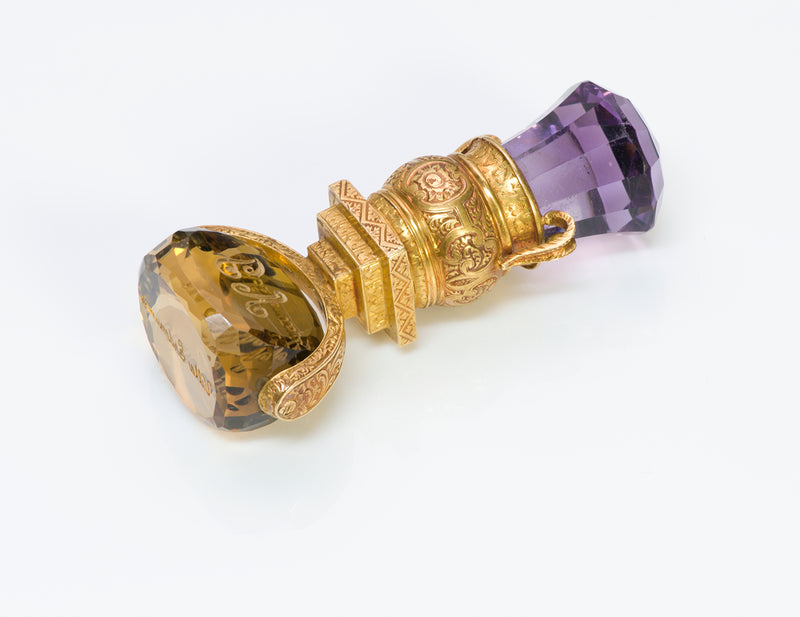 Victorian Amethyst Citrine Engraved Gold Seal