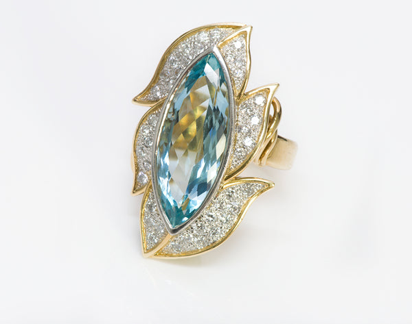 Marquise Aquamarine Diamond Ring