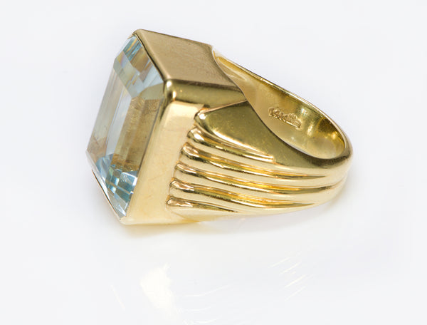 Aquamarine Ribbed Ring