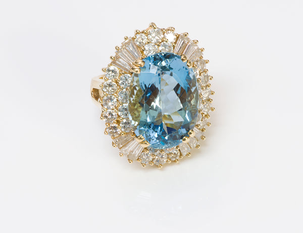 Aquamarine Brilliant & Baguette Diamond Gold Ring