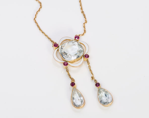 Aquamarine Ruby Enamel Gold Pendant Necklace