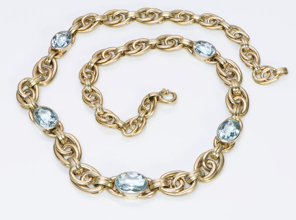 Vintage Aquamarine Gold Necklace