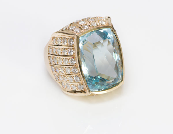 Aquamarine Gold Diamond Ring