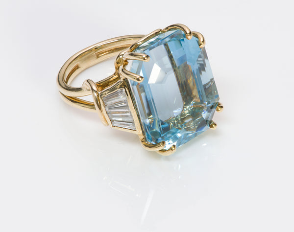 Aquamarine Ring Baguette Diamond Y Gold Ring