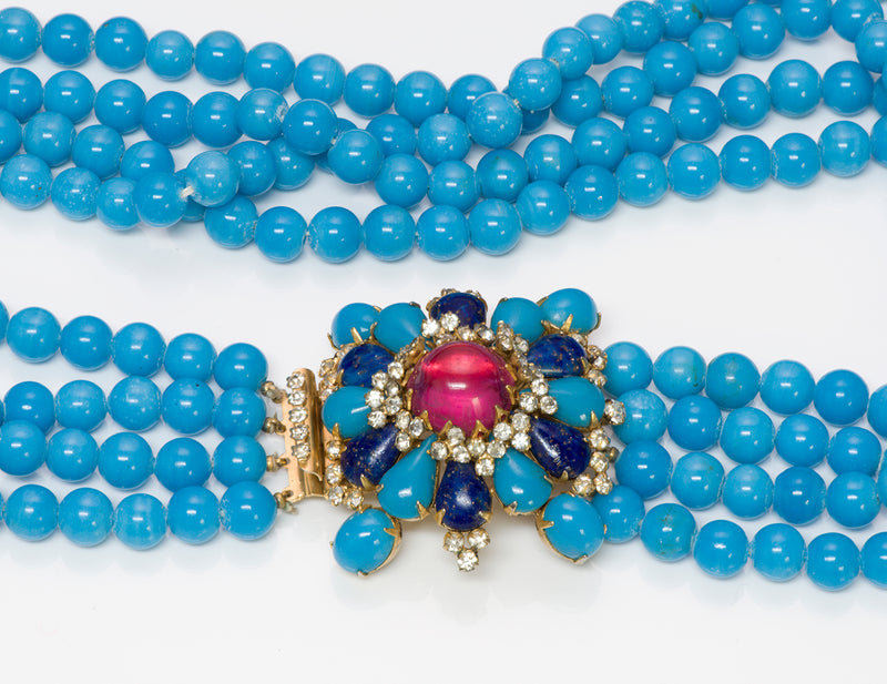 Arnold Scaasi Couture Blue Glass Beads Necklace 2