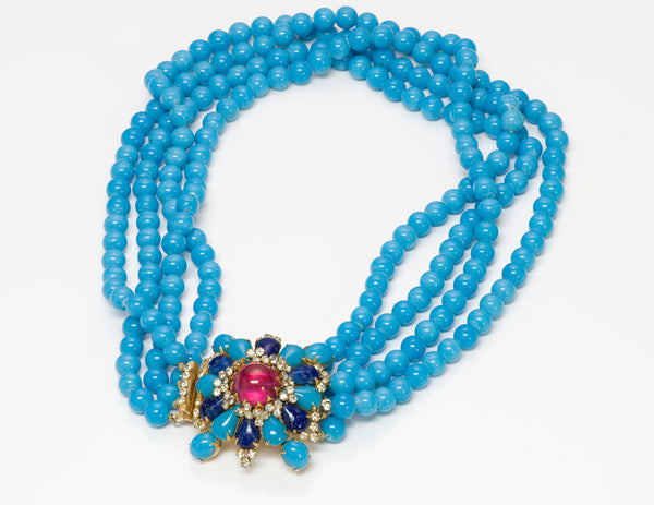 Arnold Scaasi Couture Blue Glass Beads Necklace 1
