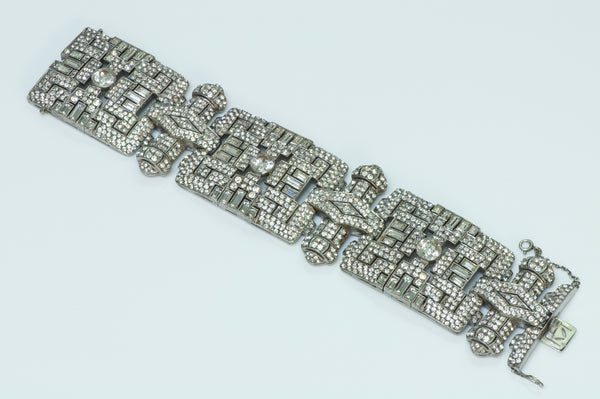Art Deco Wide Silver Paste Bracelet