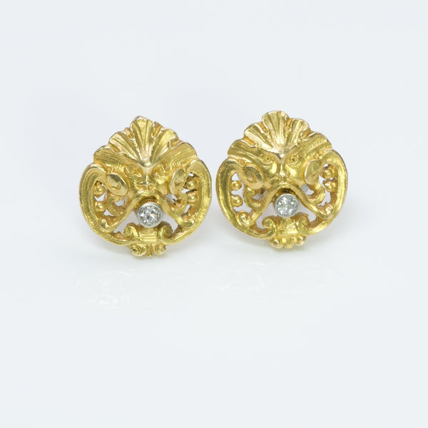 Antique Art Nouveau Yellow Gold Diamond Stud Earrings